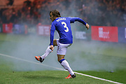 Everton defender Leighton Barnes  in front of an Everton  smoke bomb during the Capital One Cup match between Middlesbrough and Everton at the Riverside Stadium, Middlesbrough, England on 1 December 2015. Photo by Simon Davies.