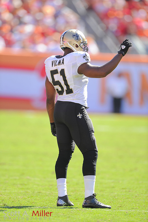 New Orleans Saints linebacker Jonathan Vilma (51) during the Saints game against the Tampa Bay Buccaneers at Raymond James Stadium  on Oct. 14, 2012 in Tampa, Florida. The Saints won 35-28....©2012 Scott A. Miller...