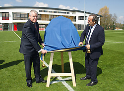 NEWPORT, WALES - Saturday, April 20, 2013: First Minister Carwyn Jones with UEFA President Michel Platini at the opening of the FAW National Development Centre in Newport. (Pic by David Rawcliffe/Propaganda)