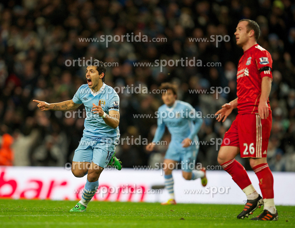 03.01.2012, Etihad Stadion, Manchester, ENG, PL, Manchester City vs FC Liverpool, 19. Spieltag, im Bild Manchester City's Sergio Aguero celebrates scoring the first goal against Liverpool during the football match of English premier league, 19th round, between Manchester City and FC Liverpool at Etihad Stadium, Manchester, United Kingdom on 2012/01/03. EXPA Pictures © 2012, PhotoCredit: EXPA/ Propagandaphoto/ David Rawcliff..***** ATTENTION - OUT OF ENG, GBR, UK *****