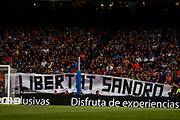 Fans proclaming freedom for Sandro Rosell ex FC Barcelona pressident during the Spanish championship La Liga football match between FC Barcelona and Real Sociedad on May 20, 2018 at Camp Nou stadium in Barcelona, Spain - Photo Xavier Bonilla / Spain ProSportsImages / DPPI / ProSportsImages / DPPI