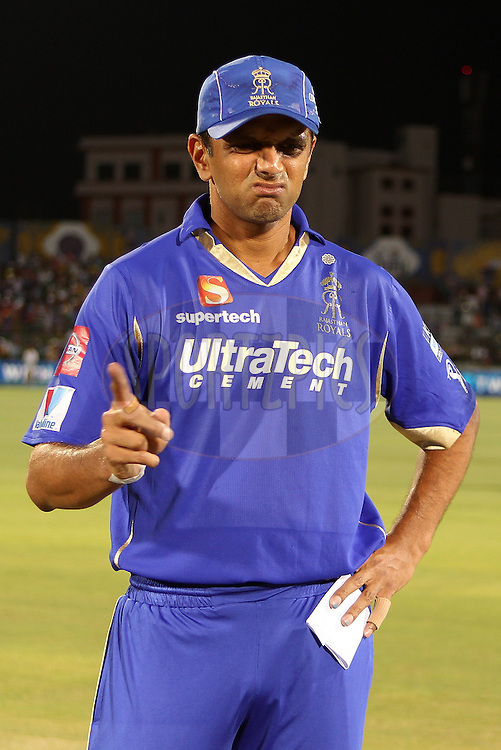 Rahul Dravid prior to the toss  during match 61 of the Pepsi Indian Premier League ( IPL) 2013  between The Rajasthan Royals and the Chennai SUperkings held at the Sawai Mansingh Stadium in Jaipur on the 12th May 2013..Photo by Ron Gaunt-IPL-SPORTZPICS ..Use of this image is subject to the terms and conditions as outlined by the BCCI. These terms can be found by following this link:..http://www.sportzpics.co.za/image/I0000SoRagM2cIEc
