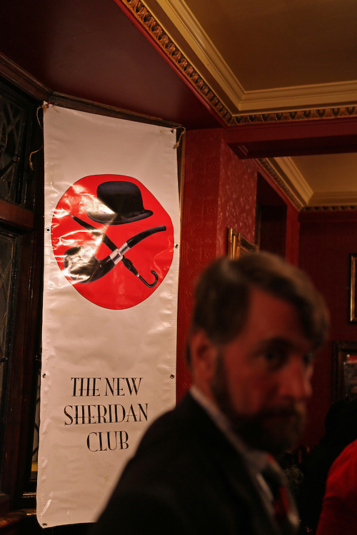 Torquil, founder of the New Sheridan Club, at the New Sheridan Club which gathers chaps and chapettes or whoever is interested once a month to quaff ale, chat about this and that, admire each other's tweed suits and listen to wind-up gramophones!