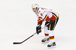 Jan 17, 2012; San Jose, CA, USA; Calgary Flames defenseman Cory Sarich (6) before a face off against the San Jose Sharks during the third period at HP Pavilion. San Jose defeated Calgary 2-1 in shootouts. Mandatory Credit: Jason O. Watson-US PRESSWIRE