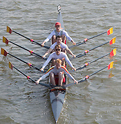 Chiswick, London, Great Britain.<br /> Tideway Scullers SchoolSchool/Jun Quad, competing at the <br /> 2016 Schools Head of the River Race, Reverse Championship Course Mortlake to Putney. River Thames.<br /> <br /> Thursday  17/03/2016<br /> <br /> [Mandatory Credit: Peter SPURRIER;Intersport images]