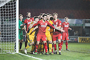 A congested goal line awaits a corner during the The FA Cup match between Newport County and Alfreton Town at Rodney Parade, Newport, Wales on 15 November 2016. Photo by Andrew Lewis.