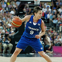 11 August 2012: France Celine Dumerc dribbles during 86-50 Team USA victory over Team France, during the Women's Gold Medal Game, at the North Greenwich Arena, in London, Great Britain.