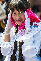 Pisac, Peru - July 16, 2013: woman portrait at Virgen del Carmen parade in the peruvian Andes at Pisac Peru on july 16th, 2013