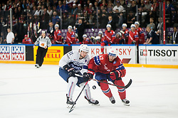 Anthony Rech of France vs Henrik Odegaard of Norway during the 2017 IIHF Men's World Championship group B Ice hockey match between National Teams of Norway and France, on May 6, 2017 in Accorhotels Arena in Paris, France. Photo by Vid Ponikvar / Sportida