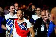 8-5-2016 ROTTERDAM - Mixed Martial Arts - UFC Fight Night - Germaine de Randamie v Anna Elmose - 8/5/16 - Germaine de Randamie celebrates after winning her fight. in ahoy rotterdam COPYRIGHT ROBIN UTRECHT