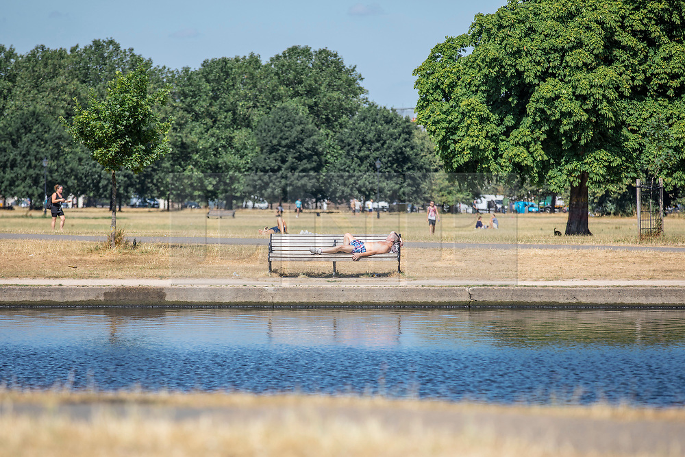 © Licensed to London News Pictures. 23/07/2018. London, UK. A man sunbathes by the boating pond on Clapham Common, south London, as hot weather continues in the capital. Forecasters are predicting record temperatures this week. Photo credit: Rob Pinney/LNP