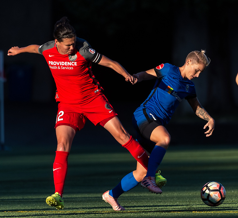 The 2017 NWSL soccer match between the Seattle Reign FC and the Portland Thorns FC at Memorial Stadium, Seattle, Washington.<br /> <br /> The Seattle Reign FC topped the Portland Thorns FC 2-0.<br /> <br /> Photo Credit: Alika Jenner