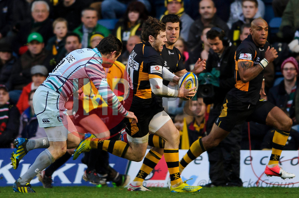 Wasps Outside Centre (#13) Elliot Daly breaks down the wing during the second half of the match - Photo mandatory by-line: Rogan Thomson/JMP - Tel: Mobile: 07966 386802 25/11/2012 - SPORT - RUGBY - Adams Park - High Wycombe. London Wasps v Leicester Tigers - Aviva Premiership.