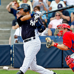 March 11, 2012; Tampa Bay, FL, USA; New York Yankees shortstop Derek Jeter (2) singles during the bottom of the third inning of a spring training game against the Philadelphia Phillies at George M. Steinbrenner Field. Mandatory Credit: Derick E. Hingle-US PRESSWIRE