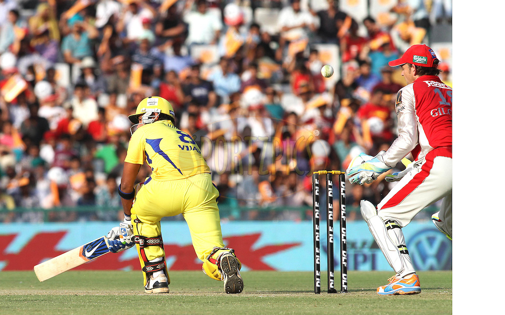 Murali Vijay of the Chennai Super Kings laps a delivery behind towards the boundary during match 9 of the Indian Premier League ( IPL ) Season 4 between the Kings XI Punjab and the Chennai Super Kings held at the PCA stadium in Mohali, Chandigarh, India on the 13th April 2011..Photo by Shaun Roy/BCCI/SPORTZPICS