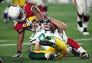 Arizona Cardinals cornerback Justin Bethel (28) tries to strip the ball from Green Bay Packers wide receiver Jeff Janis (83) after a 6 yard second quarter pass reception good for a first down at the Arizona Cardinals 24 yard line during the NFL NFC Divisional round playoff football game against the Arizona Cardinals on Saturday, Jan. 16, 2016 in Glendale, Ariz. The Cardinals won the game in overtime 26-20. (©Paul Anthony Spinelli)