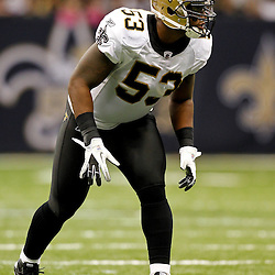 October 23, 2011; New Orleans, LA, USA; New Orleans Saints linebacker Ramon Humber (53) during the fourth quarter of a game against the Indianapolis Colts at the Mercedes-Benz Superdome. The Saints defeated the Colts 62-7. Mandatory Credit: Derick E. Hingle-US PRESSWIRE / © Derick E. Hingle 2011
