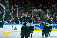KELOWNA, CANADA - FEBRUARY 2:  Connor Dewar #43 of the Everett Silvertips celebrates a second period goal against the Kelowna Rockets on FEBRUARY 2, 2018 at Prospera Place in Kelowna, British Columbia, Canada.  (Photo by Marissa Baecker/Shoot the Breeze)  *** Local Caption ***