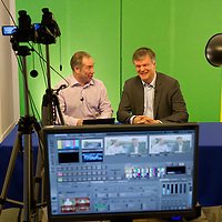 Secretary of State for Scotland Michael Moore MP pictured being interviewed by Gavin Sime of Perthshire Online TV whilst visiting their base in the village of Bridge of Earn whilst on visit to Perthshire...29.08.12<br /> Picture by Graeme Hart.<br /> Copyright Perthshire Picture Agency<br /> Tel: 01738 623350  Mobile: 07990 594431