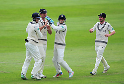 Middlesex celebrate the wicket of James Hildreth - Mandatory by-line: Alex Davidson/JMP - 12/07/2016 - CRICKET - Cooper Associates County Ground - Taunton, United Kingdom - Somerset v Middlesex - Day 3 - Specsavers County Championship Division One