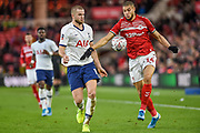 Rudy Gestede of Middlesbrough FC and Eric Dier of Tottenham Hotspur compete for the ball during the The FA Cup match between Middlesbrough and Tottenham Hotspur at the Riverside Stadium, Middlesbrough, England on 5 January 2020.
