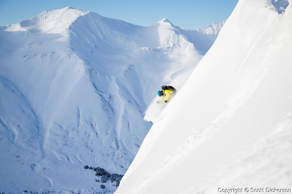 Jeff Hoke skiing in the Chugach Mountains, Alaska.