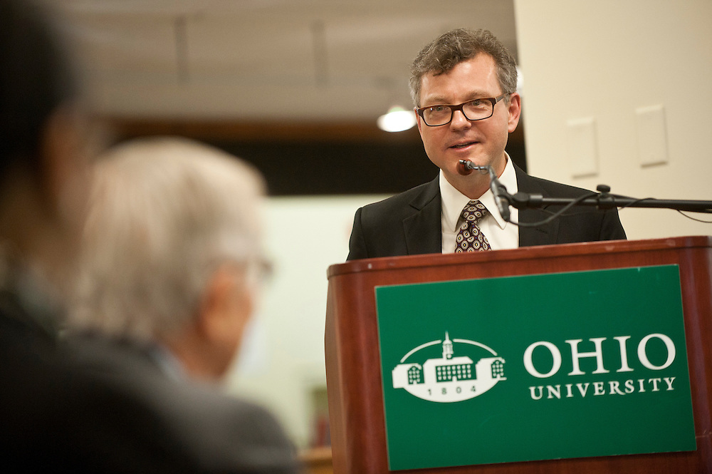 Dean of Libraries Scott Seaman speaks during the 50th Anniversary of Emeritus President Aldens inauguration event on Saturday evening, April 28 at Alden Library.