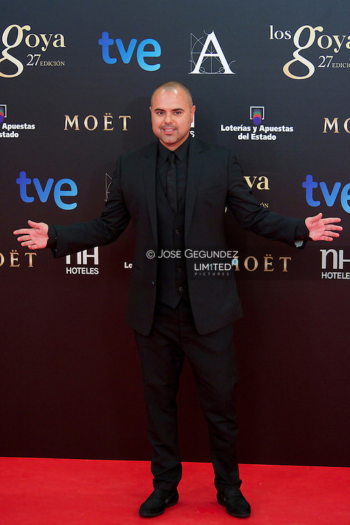 Juan Magan arrives to Goya Cinema Awards 2013 ceremony, at Auditorium Hotel on February 17, 2013 in Madrid, Spain