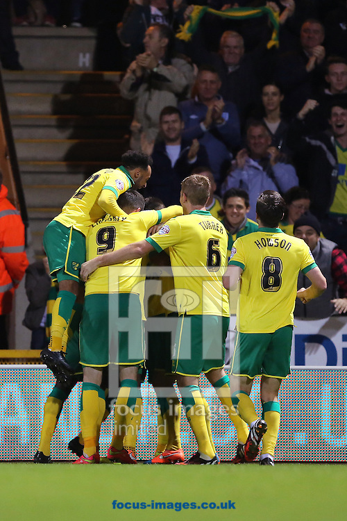 Norwich City players celebrate the second goal of the Sky Bet Championship match from Cameron Jerome (hidden) against Bolton Wanderers at Carrow Road, Norwich<br /> Picture by Richard Calver/Focus Images Ltd +447792 981244<br /> 31/10/2014