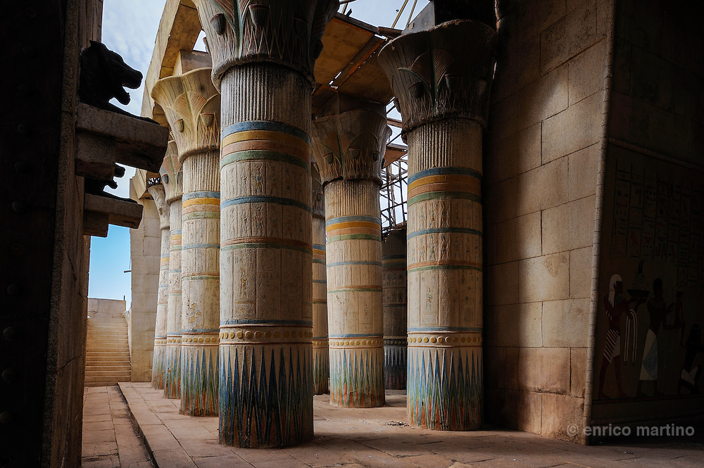 Atlas Studios. Luxor set, Egyptian temple for Asterix &amp; Obelix: Mission Cleopatra. <br /> Atlas Studios are the first Film Studio located in North Africa, the site is spread over 20 hectares with many sets of the multiple movies turned in studios.