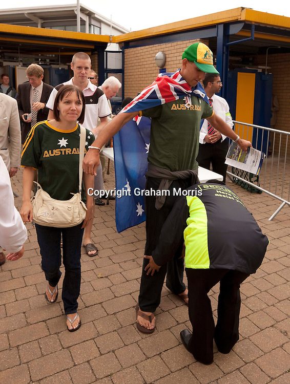 Supporters arrive for the second MCC Spirit of Cricket Test Match between Pakistan and Australia at Headingley, Leeds.  Photo: Graham Morris (Tel: +44(0)20 8969 4192 Email: sales@cricketpix.com) 21/07/10