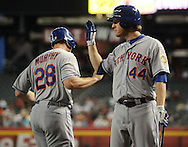 Jul. 26, 2012; Phoenix, AZ, USA; New York Mets infielder Daniel Murphy (28) is congratulated by teammate outfielder Jason Bay (44) during the game against the Arizona Diamondbacks at Chase Field. The Mets defeated the Diamondbacks 3-1. Mandatory Credit: Jennifer Stewart-US PRESSWIRE