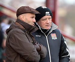 Exeter City Manager, Paul Tisdale talks with Northampton Town Manager, Chris Wilder - Photo mandatory by-line: Alex James/JMP - Mobile: 07966 386802 - 10/01/2015 - SPORT - football - Exeter - St James Park - Exeter City v Northampton - Sky Bet League Two