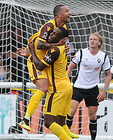 Football - 2018 / 2019 Vanarama National League - Sutton United vs. Salford City<br /> <br /> Craig Eastmond of Sutton celebrates scoring his first half goal with Dale Bennett, at Gander Green Lane.<br /> <br /> COLORSPORT/ANDREW COWIE