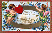 To My Valentine', American Valentine card, c1908.  Cupid shoots an arrow into a heartheld up by a putto. The words are surrounded by garlands of Forget-me-nots (Myosotis palustris) and lucky four-leafed Shamrock or Wood Sorrel (Oxalis acetosella) is a symbol of Ireland. In Roman mythology Cupid was the son of Venus, goddess of love (Eros and Aphrodite in the Greek Pantheon).  The identity of St Valentine is uncertain, the most popular candidates are Valentine, bishop of Terni (3rd century) or a Roman Christian convert martyred c270).  St Valentine's Day, celebrated on 14 February, probably replaces the Roman pagan festival of Lupercalia.