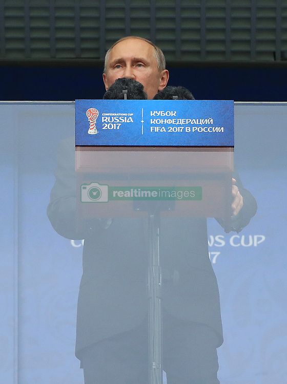 President of Russia Vladimir Putin makes a statement before the game
