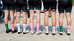 Parkhotel Valkenburg show off their team socks at Tour of Chongming Island 2019 - Stage 3, a 118.4 km road race on Chongming Island, China on May 11, 2019. Photo by Sean Robinson/velofocus.com