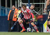 Football - 2016 / 2017 Premier League - Tottenham Hotspur vs. Southampton<br /> <br /> Manolo Gabbiadini of Southampton holds off Ben Davies of Tottenham<br /> at White Hart Lane.<br /> <br /> COLORSPORT/DANIEL BEARHAM