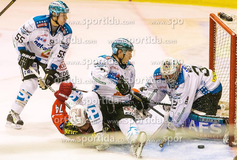 07.10.2012, Stadthalle, Klagenfurt, AUT, EBEL, EC KAC vs EHC Black Wings, 10. Runde, im Bild Daniel Mitterdorfer (EHC Black Wings, #4), Robert Lukas (EHC Black Wings, #55), Jamie Lundmark (Kac, #74), Alex Westlund (EHC Black Wings, #32) // during the Erste Bank Icehockey League 10th Round match betweeen EC KAC and EHC Black Wings at the City Hall, Klagenfurt, Austria on 2012/10/07. EXPA Pictures © 2012, PhotoCredit: EXPA/ Mag. Gert Steinthaler