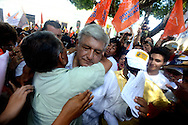 Merida, Mexico - Presidential candidate Andres Manuel Lopez Obrador, of the leftist coalition MORENA, shakes hands and shares hugs with the crowd after a rally in La Mejorada, a park in Merida, in the southern state of Yucatan. (PHOTO: MIGUEL JUAREZ LUGO)