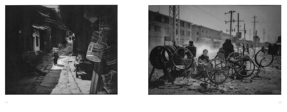 L:  Naxi woman struggling beneath her load through a backstreet.  Lijiang, Yunnan, China.  1997..R:  Bicycle repairman on the Chinese side of the Tibetan town of Zhongdian, Yunnan (Gyeltangteng, Kham), China.  1997
