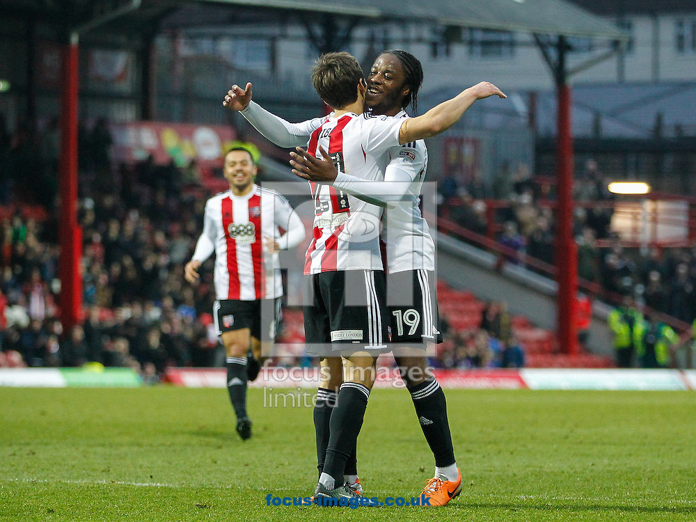 Romaine Sawyers of Brentford celebrates scoring Brentford's fifth goal during the FA Cup 3rd round match between  Brentford and Eastleigh FC  at Griffin Park, London<br /> Picture by Mark D Fuller/Focus Images Ltd +44 7774 216216<br /> 07/01/2017