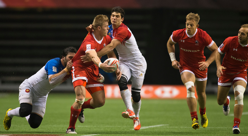 John Moonlight of Canada plays France in the Bowl Final at the HSBC Sevens World Series XVII Round 6 at B.C. Place Stadium in Vancouver British Columbia on March 13, 2016. Canada beat France 19-17.(KevinLight/CBCSports)