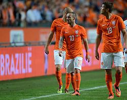 04-06-2014 NED: Vriendschappelijk Nederland - Wales, Amsterdam<br /> Nederland wint met 2-0 van Wales / Arjen Robben, Wesley Sneijder