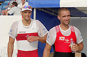 St Catherines, CANADA,  Men's Single Sculls, medals. left bronze medalist CAN M1X derek PORTER, Silver medalist, SUI M1X. Xeno MULLER,   awards Dock.  1999 World Rowing Championships - Martindale Pond, Ontario. 08.1999..[Mandatory Credit; Peter Spurrier/Intersport-images]  .. 1999 FISA. World Rowing Championships, St Catherines, CANADA