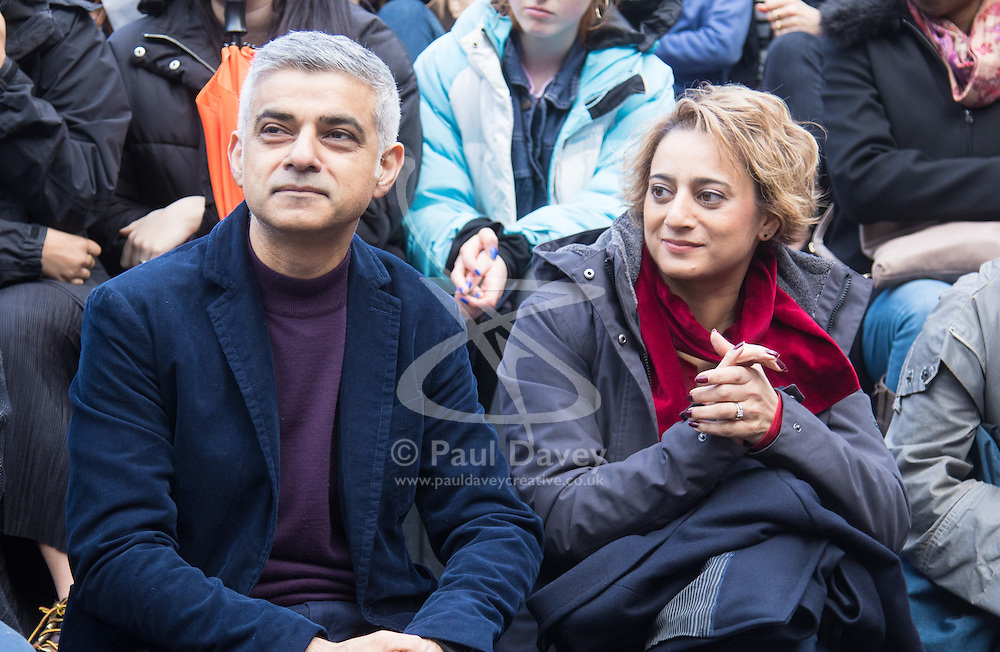 """City Hall, London, March 5th 2017. Stars join March4Women through London. Mayor of London Sadiq Khan and suffragette descendents prepare to march and """"sing for a fairer world ahead of International Women's Day"""". Attended by Annie Lennox, Emeli Sande, Helen Pankhurst, Bianca Jagger and with musical performances from Emeli Sande, Melanie C and more. PICTURED:  more. PICTURED: Mayor of London Sadiq Khan and his wife Saadiya Khan"""