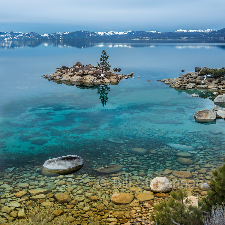 A photo of a rock island in Lake Tahoe in Nevada