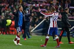 17.03.2015, Estadio Vicente Calderon, Madrid, ESP, UEFA CL, Atletico Madrid vs Bayer Leverkusen, Achtelfinal, R&uuml;ckspiel, im Bild Atletico de Madrid&acute;s Ansaldi and Joao Miranda celebrate their victory // during the UEFA Champions League Round of 16, 2nd Leg match between Atletico de Madrid and Bayer Leverkusen at the Estadio Vicente Calderon in Madrid, Spain on 2015/03/17. EXPA Pictures &copy; 2015, PhotoCredit: EXPA/ Alterphotos/ Victor Blanco<br /> <br /> *****ATTENTION - OUT of ESP, SUI*****