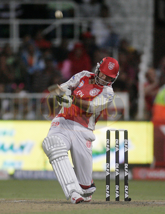 DURBAN, SOUTH AFRICA - 1 May 2009. Irfan Pathan plays a shot during the IPL Season 2 match between Kings X1 Punjab and the Royal Challengers Bangalore held at Sahara Stadium Kingsmead, Durban, South Africa..