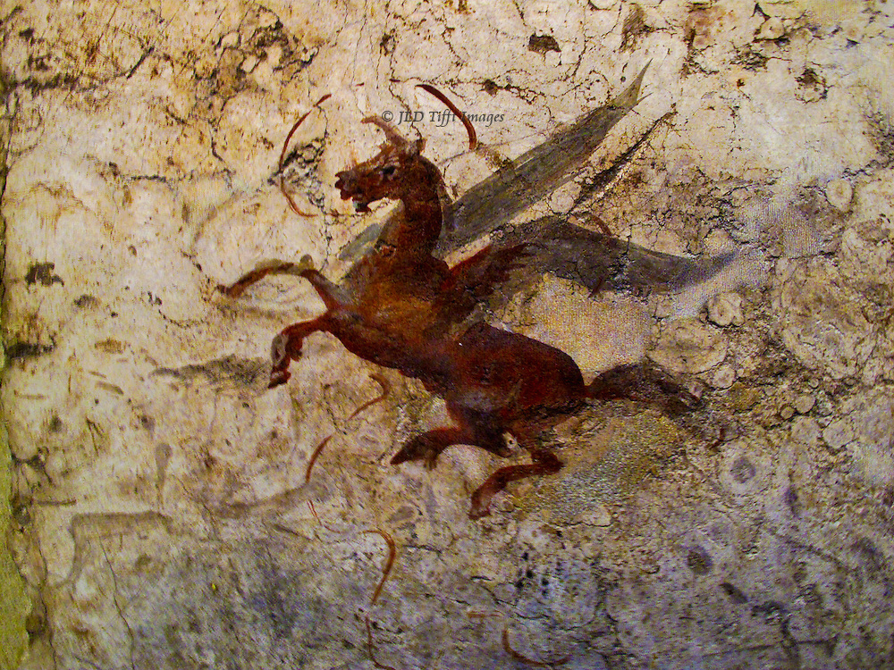 Museo Nazionale de Roma, Palazzo Massimo, flying horse or unicorn, detail of a wall painting from an ancient Roman house.